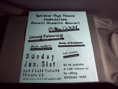 Concert Poster Nuclear Age Peace Foundation 1-31-1999 Cafe Voltaire, Ventura, CA