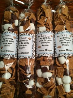 #Birthdaytreat for first week of school...idea courtesy of this blog (linked to this photo), easy to make Avery labels (Template 22816), and the help from my sweet 6 year old. ❤️ #smores