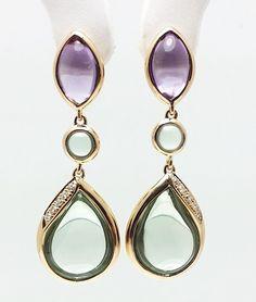 EFFY 18k Rose Gold Earrings with Cabochon Purple Green Amethyst and Diamonds #EFFY #earrings