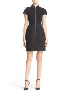 textured-mixed-media-zip-front-dress by ted-baker-london. #fashiontrend #miniskirt #shortdresses #stylish #shoptagr