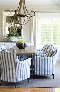 Lasting french country dining room furniture & decor ideas Country Patio, French Country Dining Room, French Country Decorating, Country Living, Dining Table Chairs, Dining Room Furniture, Furniture Decor, Striped Dining Chairs, Accent Chairs