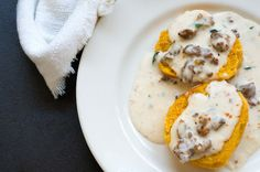 Sweet potato biscuits with chorizo cream gravy and Foodways Texas Recipe on Yummly