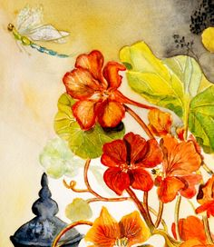 Cadeau Noël Tableau Contemporain Peinture Moderne Aquarelle les capucines de Marie : Peintures par cyane