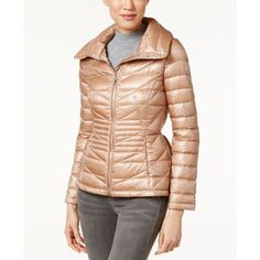 Calvin Klein Peplum Cinched-Waist Packable Puffer Coat (465 RON) ❤ liked on Polyvore featuring outerwear, coats, shine nude, cinched waist coat, puffer coat, calvin klein, cinch coats and calvin klein coats