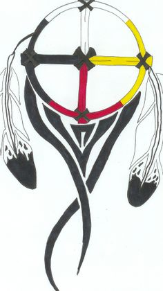 medicine wheel- Maybe without the tribal Native American Medicine Wheel, Native American Symbols, American Indians, Feather Art, Feather Tattoos, Tatoos, Feather Crafts, Skull Tattoos, Native American Feather Tattoo