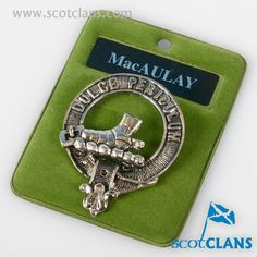 MacAulay Clan Crest Pewter Badge. Free worldwide shipping available