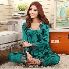 2016 primavera estate autunno di seta delle donne pigiami set di sleepshirt    Bicchierini di sonno 6946e6e6e8c