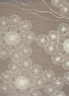 Portobello Fabric Linen Portobello Linen design inspired by lace patterns on a soft brown background.
