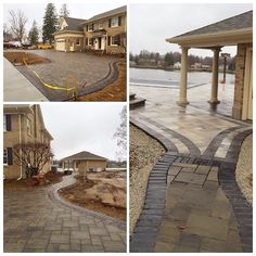 #pavers are complete on our #St. Joe River #remodel project. Top left: drive; bottom left: winding walk; right: entering pool area #addition #poolhouse #Michiana #Elkhart, addition, renovation, hardscaping