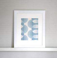 Framed Vintage Mid Century Mod Wallpaper Baby Blue by TheBlueTwig
