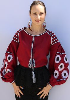 Burgundy vita kin style Vyshyvanka linen Blouse white and black embroidery. size XS-XXL VB021