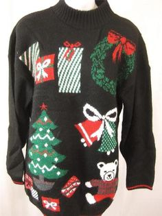 1296311dfe Vintage Black Christmas Jumper Bear Tree M L Slouchy Festive Xmas Ugly  Tacky 90s