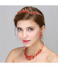 Set tiara, colier si cercei Red Passion   Pret:289lei  #tiara