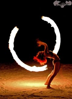 Fire Poi Dancer