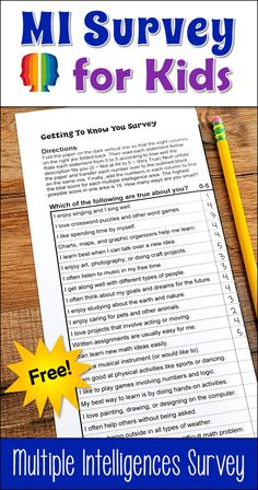 Learn how to use multiple intelligence theory and growth mindset together to motivate your students to become lifelong learners! Use this free MI Survey for Kids from Laura Candler to help you get started! Multiple Intelligences Survey, Multiple Intelligences Activities, Learning Styles Survey, Student Survey, Education Humor, Art Education, Character Education, Health Education, Higher Education
