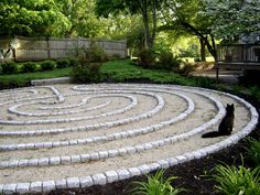 back yard labyrinth - this cat has had a revelation