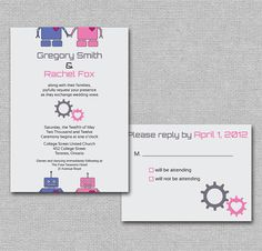 geeky robot diy printable wedding invitations