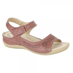 Boulevard Ladies Womens Comfy Velcro Halter Open Toe Sandals Raspberry Pink Red