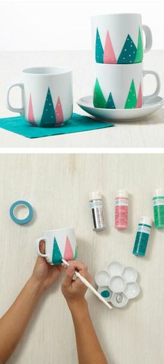 Christmas Tree Mugs Super cute last-minute gift! DIY christmas tree mugs :)Super cute last-minute gift! DIY christmas tree mugs :) Easy Diy Christmas Gifts, Diy Christmas Tree, Handmade Christmas, Holiday Crafts, Christmas Presents, Christmas Ideas, Homemade Gifts, Diy Gifts, Diy Becher