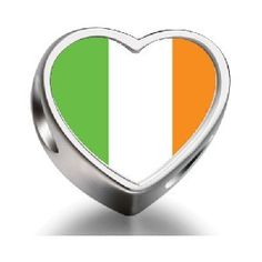 Ireland Flag Heart Photo Charm 925 Sterling Silver Fit All Brands