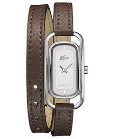 Lacoste Watch, Women's Sienna Brown Leather Double Wrap Strap