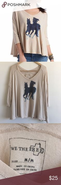 "NWOT Free People horse graphic tee New without tags. Size medium. Laying flat measures approximately 30"" pit to pit (dolman) and 24"" long. Free People Tops Tees - Short Sleeve"