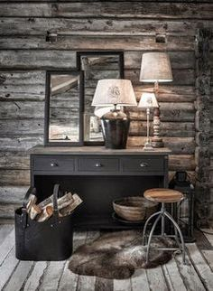BRABBU is a design brand that reflects an intense way of living, bringing fierceness, strength and power into an urban lifestyle Rustic Vanity, Cabin Interiors, Cabin Homes, Cozy House, Interior Inspiration, Rustic Decor, Sweet Home, Interior Decorating, Home Decor