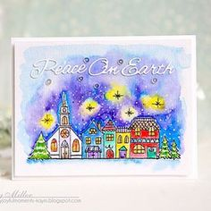 I did some watercoloring on this card created with a whimsical winter scene from Penny Black! #pennyblack #myjoyfulmoments #cardmaking #stamping #watercolor