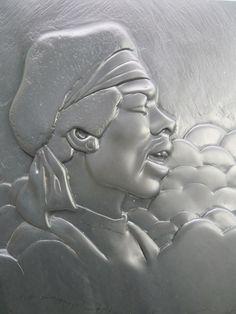 Delabole slate #sculpture by #sculptor Duncan Park titled: 'Jimi Hendrix (Carved Low/Bas Relief Tribute Wall plaque carving sculpture)'. #DuncanPark