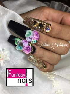 Bling Acrylic Nails, Stiletto Nail Art, 3d Nail Art, 3d Nails, 3d Nail Designs, Nails 2018, Fancy Nails, Nail Decorations, Flower Nails