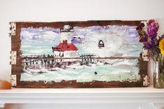 St. Joseph's North Pier Painting on Michigan Barn Wood by Micah Sawinski www.pickedwithpurpose.com Free Shipping