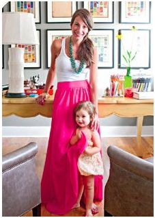 Better Homes & Gardens Mag Article: Erika Powell in a Hot Pink Maxi Skirt & Turquoise Necklace