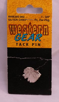 Western Gear Tack Pin Silver Chief  3/4 in Great for Native American Crafts http://www.bonanza.com/listings/384986100