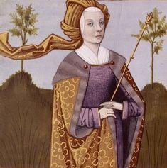 Jocasta, queen of Thebes - Giovanni Boccaccio Medieval Hats, Medieval Costume, Medieval Times, Medieval Dress, Medieval Clothing, Medieval Manuscript, Illuminated Manuscript, 16th Century Clothing, Warrior Queen