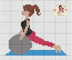 o Young Woman Exercising Cross Stitch Pattern