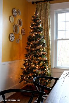 A simple Christmas Tree - burlap ribbon and lights