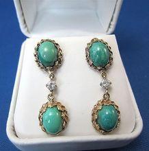 Amazing Turquoise & Diamond 14K Gold Vintage Dangle Earrings
