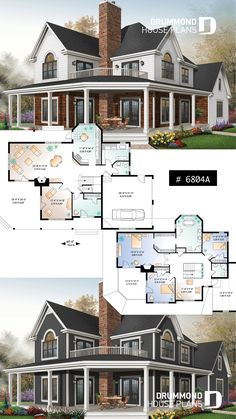 MODERN RUSTIC FARM PLAN - Lakefront spectacular house plan, large master suite, breakfast nook, 3 bedrooms, home office - . Sims House Plans, Basement House Plans, House Plans One Story, Ranch House Plans, Garage House, Dream House Plans, Modern House Plans, Small House Plans, Car Garage