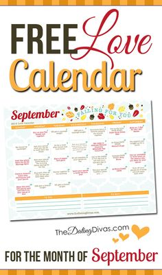 A printable couples calendar with a flirty romance tip for every day. What a fun marriage challenge to bring back the romance! www.TheDatingDivas.com...
