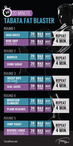 20 Minute Tabata Fat Blaster Workout #weightlossrecipesforwomen
