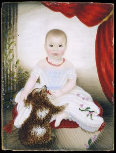 Attributed to Mrs. Moses B. Russell (Clarissa Peters) (1809–1854). Baby with Rattle and Dog, 1842. The Metropolitan Museum of Art, New York. Purchase, The Overbrook Foundation, Robert and Bobbie Falk Philanthropic Fund, and Lois and Arthur Stainman Philanthropic Fund Gifts, 1999 (1999.6) #dogs
