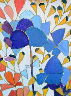 LULU DK painting  -- this is hanging in our guest bath. Want to paint bathroom the bold blue color. Create a little gem!