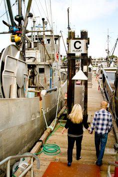 #boatdocks #docks #engagementshoot #love #engagement #couple #water #marina #ladner #bc #wedding #iloveweddings #holdinghands #strolling #backs #blondes #plaid #black #fishingboats