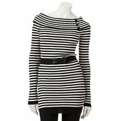 Candie's Striped Rhinestone Tunic Sweater - without the bow belt and i'd wear it as a dress