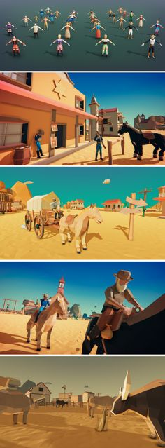 LOWPOLY - Western Pack Low poly pack of buildings, props and characters to create western themed games. Buildings: • Bank • Barn • Church • House x2 • Saloon • Sherif • Town Clock • Train StationAnimals and environment assets
