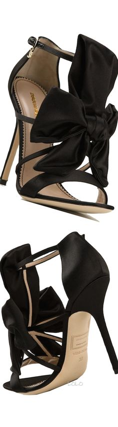 DSQUARED2 ~ Big Bow Sandal Heels, Black,2015