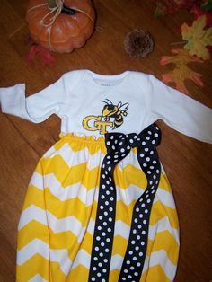 Georgia Tech baby gown or dress (inspired by) on Etsy, $25.00