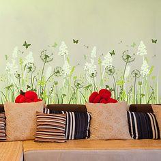 Mote+Blomster+Veggklistremerker+Fly+vægklistermærker+Dekorative+Mur+Klistermærker+Materiale+Kan+fjernes+Hjem+Dekor+Veggoverføringsbilde+–+NOK+kr.+410