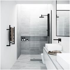Best Bathroom Designs, Modern Bathroom Design, Bathroom Interior Design, Bathroom Ideas, 5x7 Bathroom Layout, Modern White Bathroom, Bathroom Organization, Bathroom Storage, Modern Shower Doors