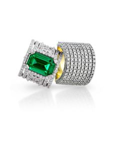 Handmade designer Jenna Clifford signature rings set in white and yellow gold [750] with emerald and diamonds